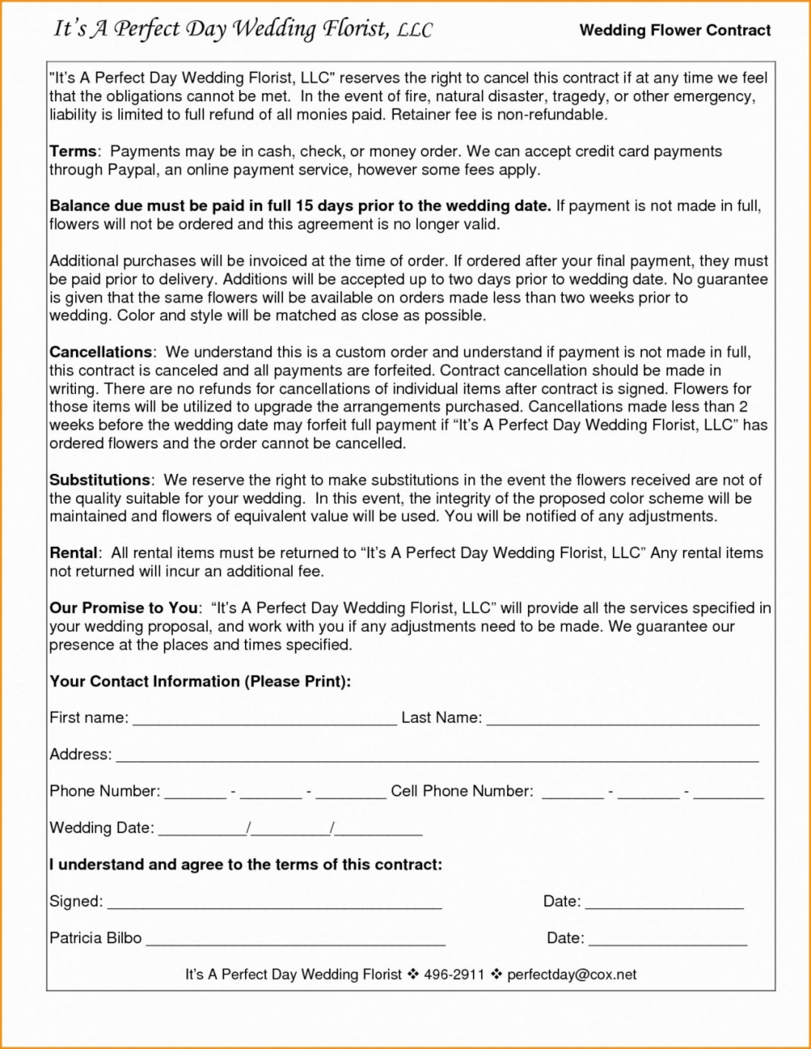 023 Wedding Videography Contract Template Inspirational ...