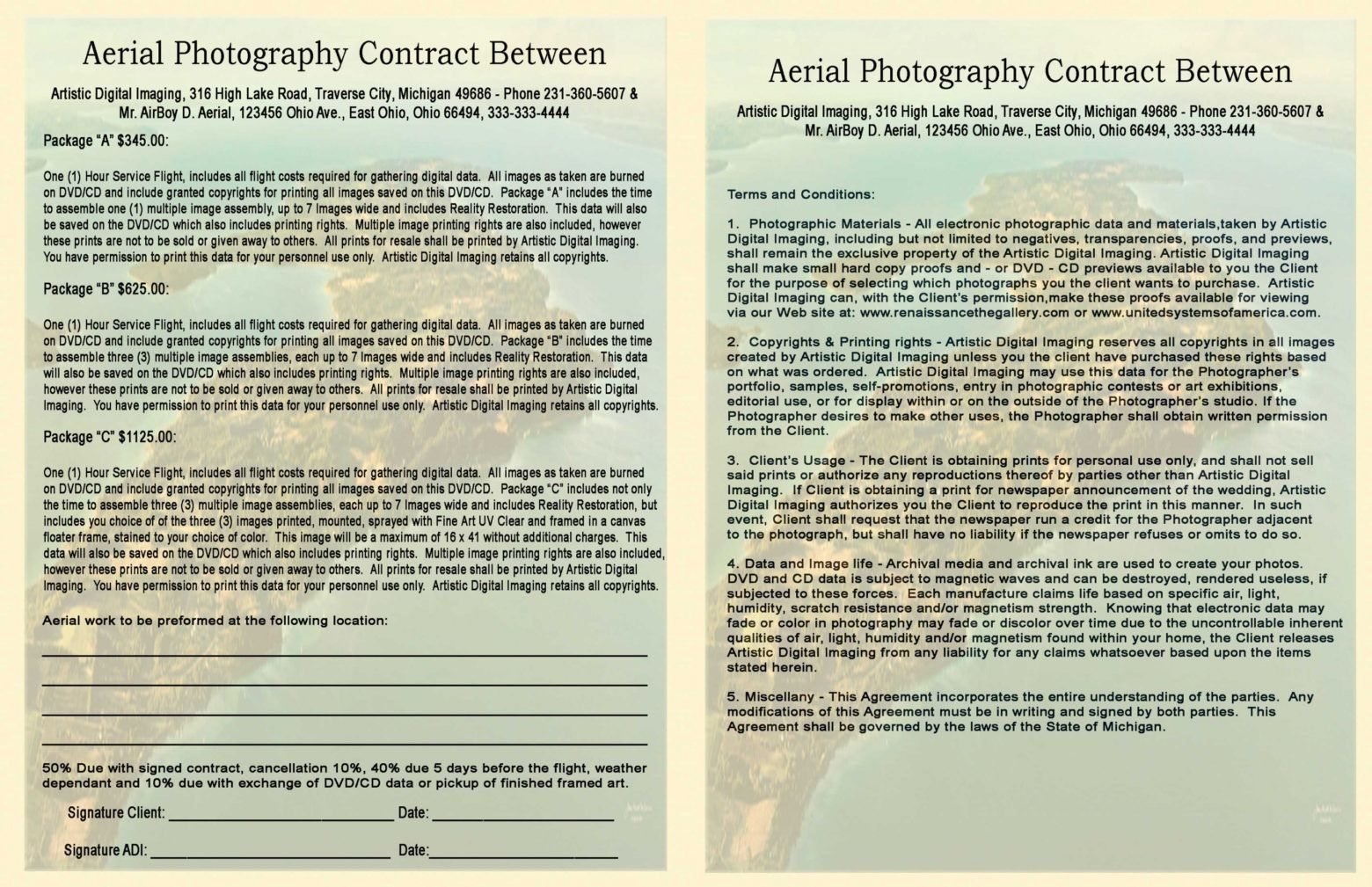 artistic digital imaging by james robert mccammon aerial photography contract template