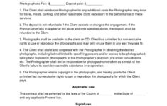 basic wedding photography contracts  photography contract template engagement photography contract template