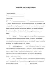 cleaning service agreement template: janitorial service agreement janitorial contract agreement