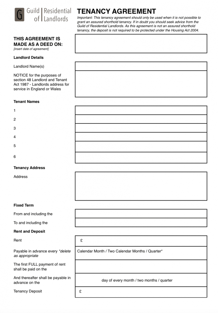 contractual (commonlaw) tenancy agreement  grl landlord association short term childminding contract template