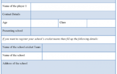 cricket tournament registration form : sample forms cricket player contract template