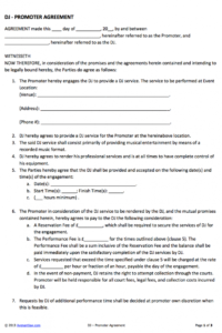 dj  promoter contract  my style  templates, wedding music, wedding dj wedding musician contract template