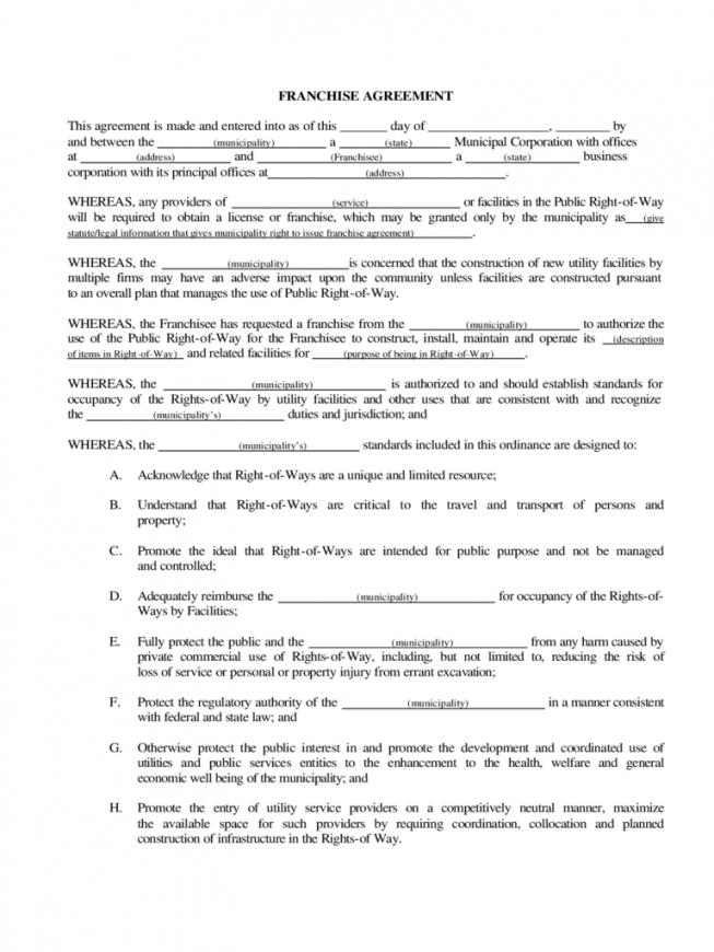 franchise agreement template  6 free templates in pdf, word, excel basic franchise agreement sample