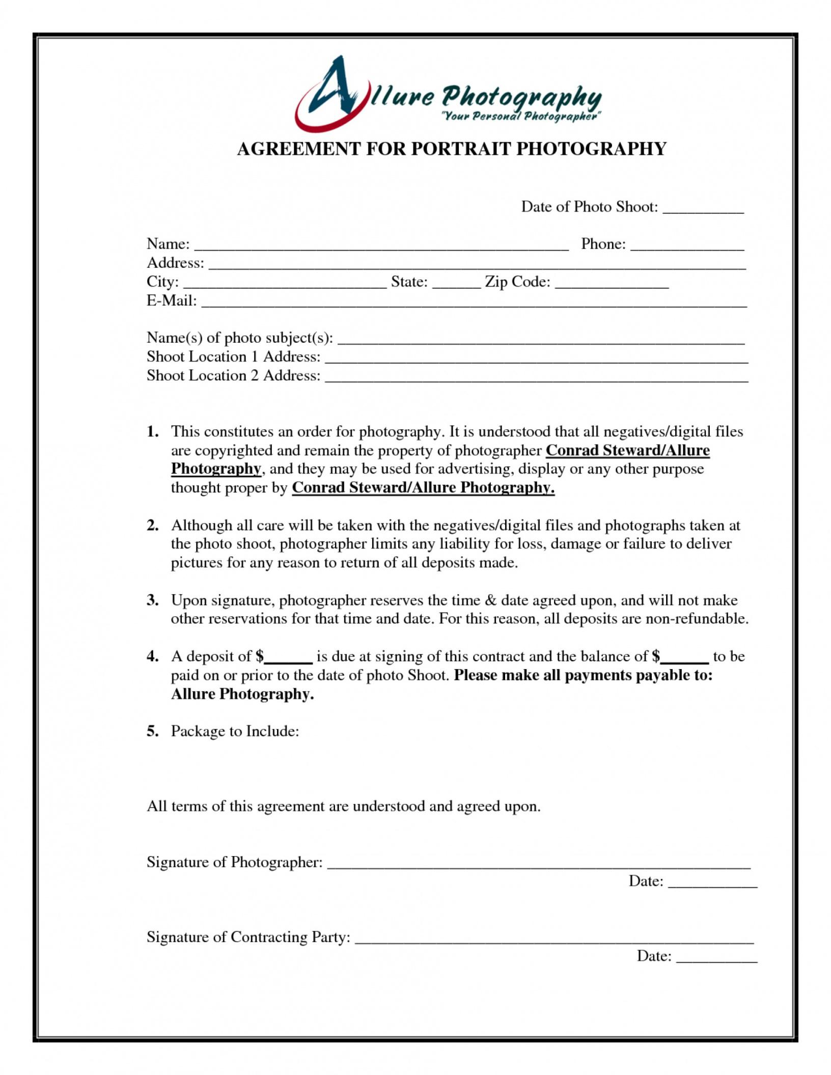 here the 005 portrait photography contract template ~ ulyssesroom senior portrait photography contract template
