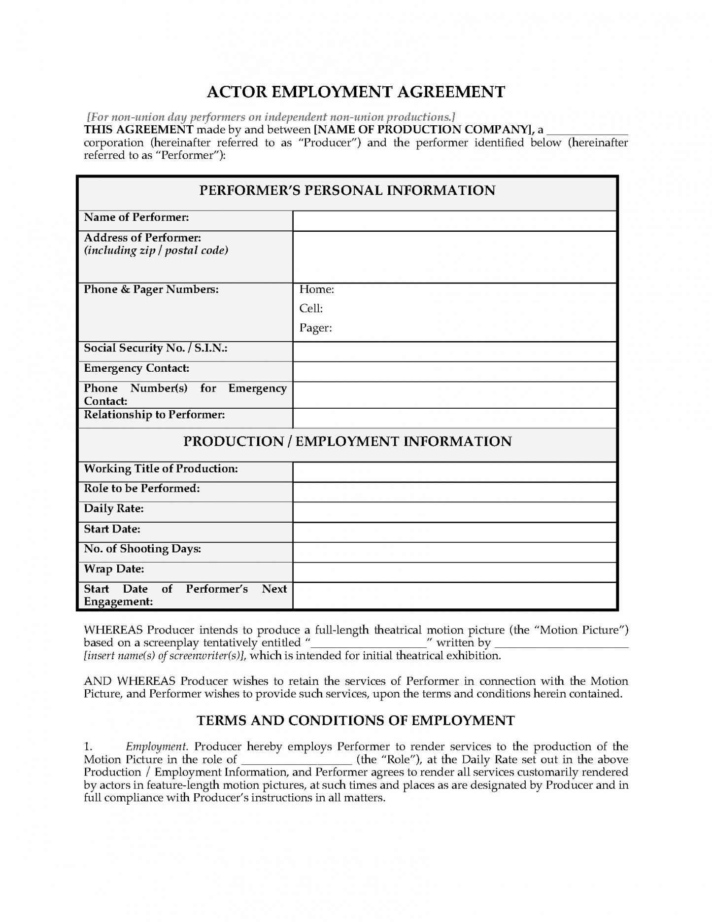 here the actor employment agreement for nonunion day performers  legal film actor contract template