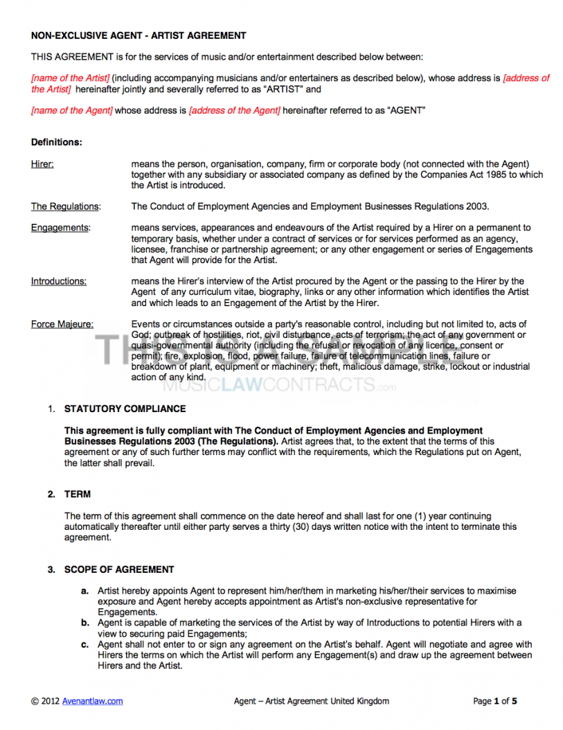 here the agency  artist contract template (uk use only) booking agent contract agreement