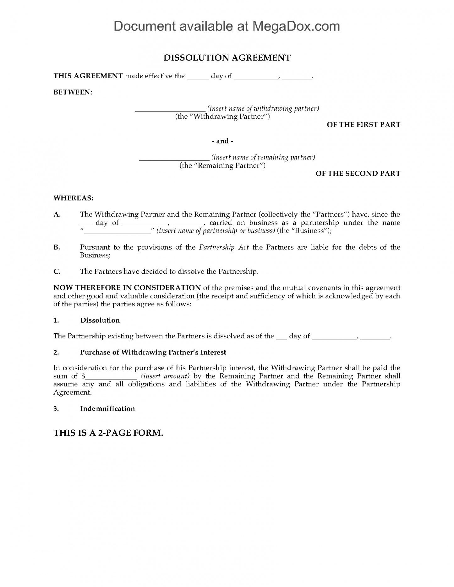 here the alberta partnership dissolution agreement  legal forms and business partnership withdrawal agreement template