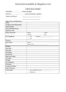 here the canada crew deal memo for movie or tv production  legal forms and film crew contract template