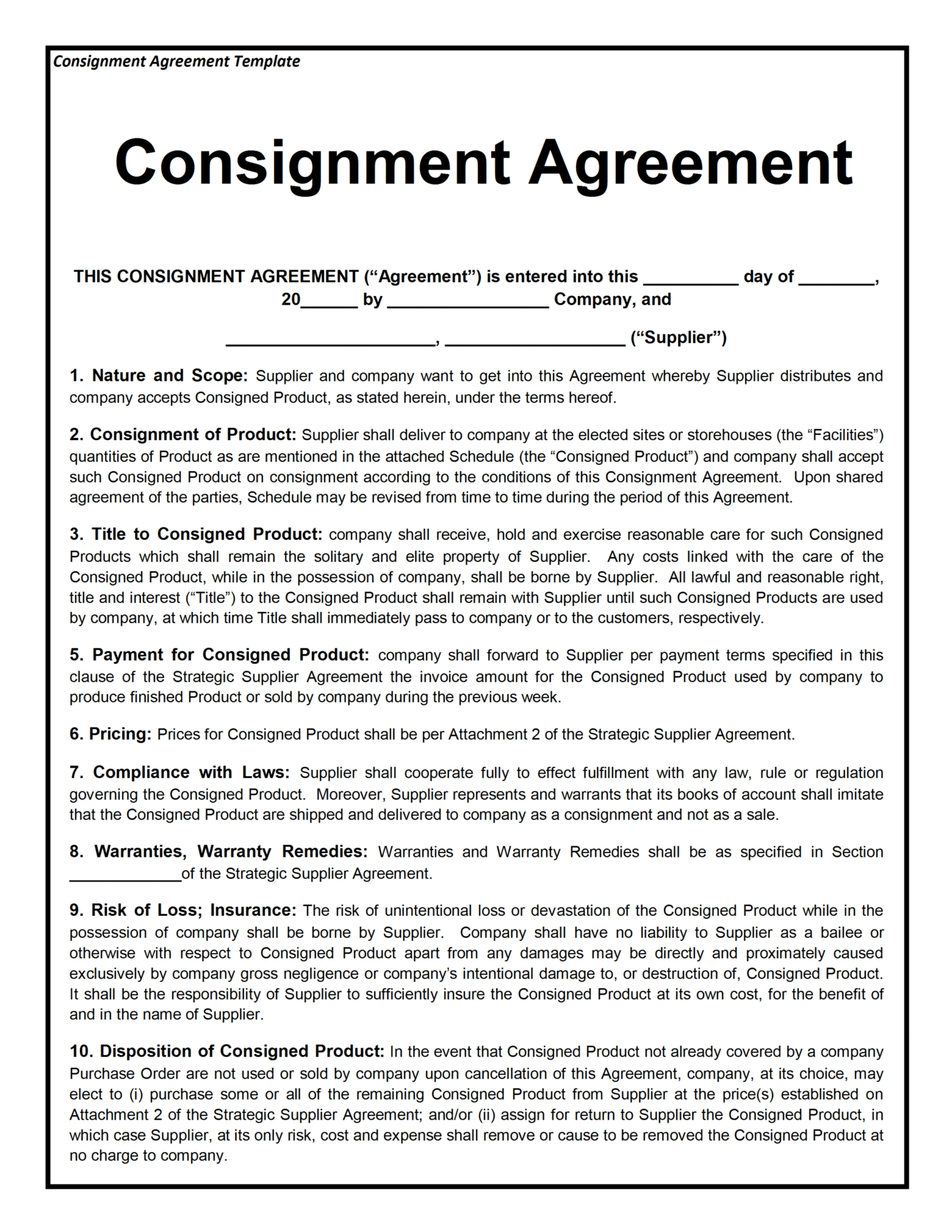 here the consignment contract template supplier warranty agreement sample
