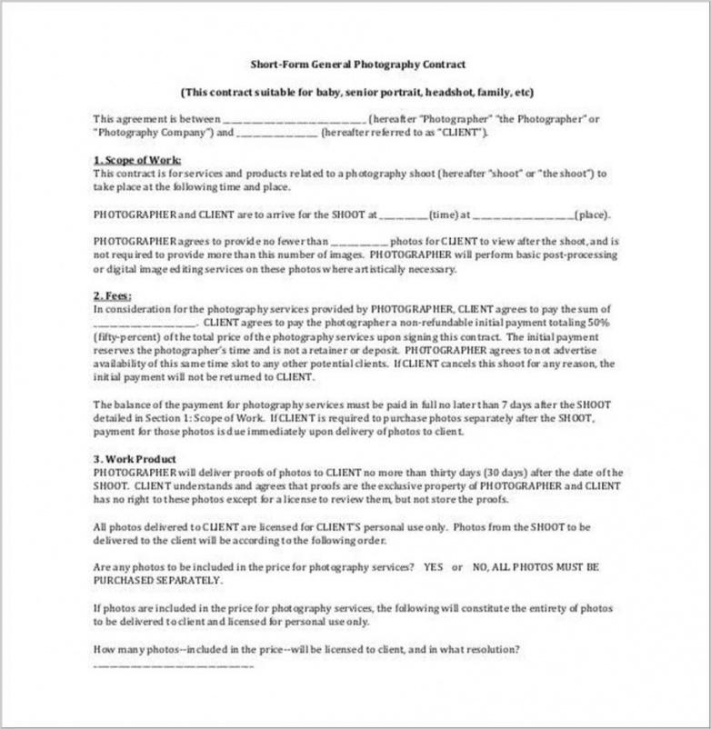 here the free printable portrait photography contract template #1816  ocweb headshot photography contract template