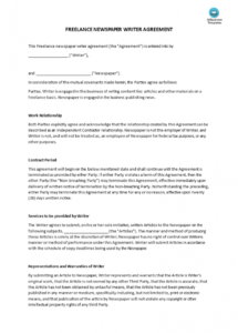 here the freelance writer newspaper articles agreement  templates at freelance writing contract template
