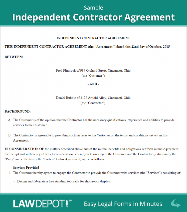 here the independent contractor agreement template (us)  lawdepot independent courier driver contract agreement