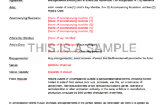 here the live promoter  artist contract template band rider contract template