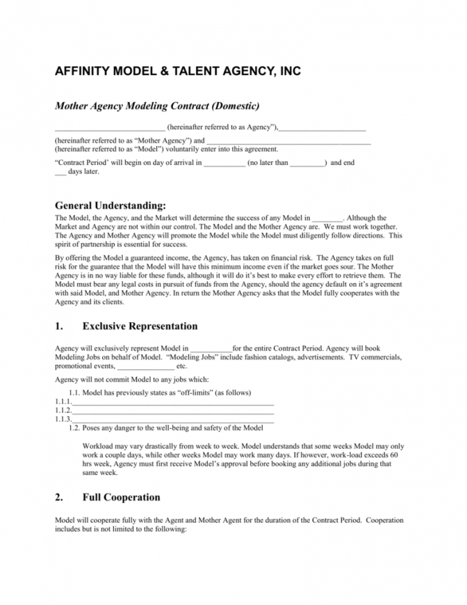 here the mother agency modeling contract modeling contract agreement