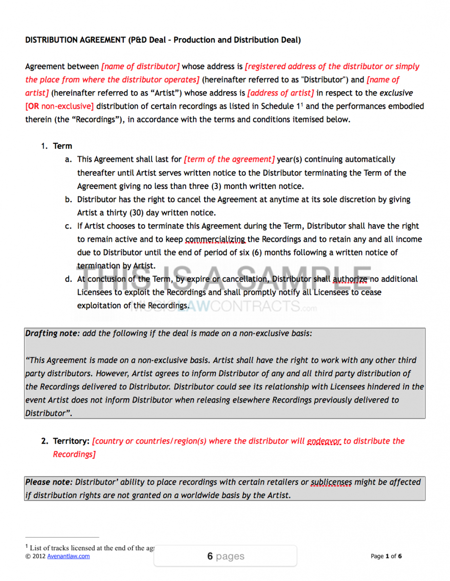 here the music distribution contract template film distribution contract template