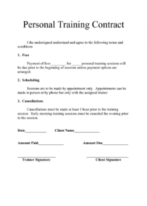 here the personal training contract templates  five 1 fitness fitness instructor contract agreement template
