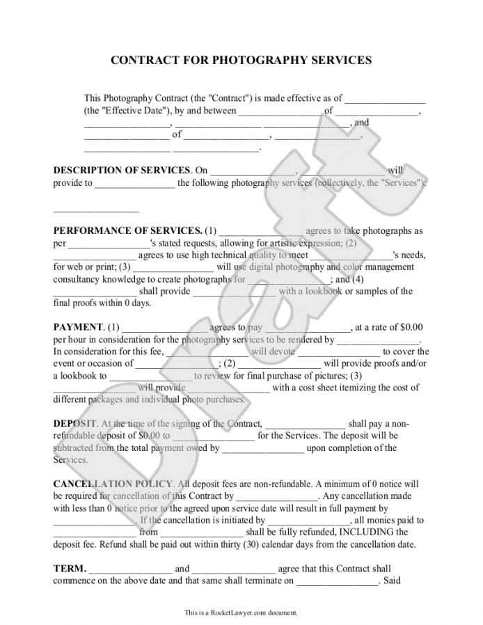 here the photography contract template for weddings, portraits, events corporate photography contract template