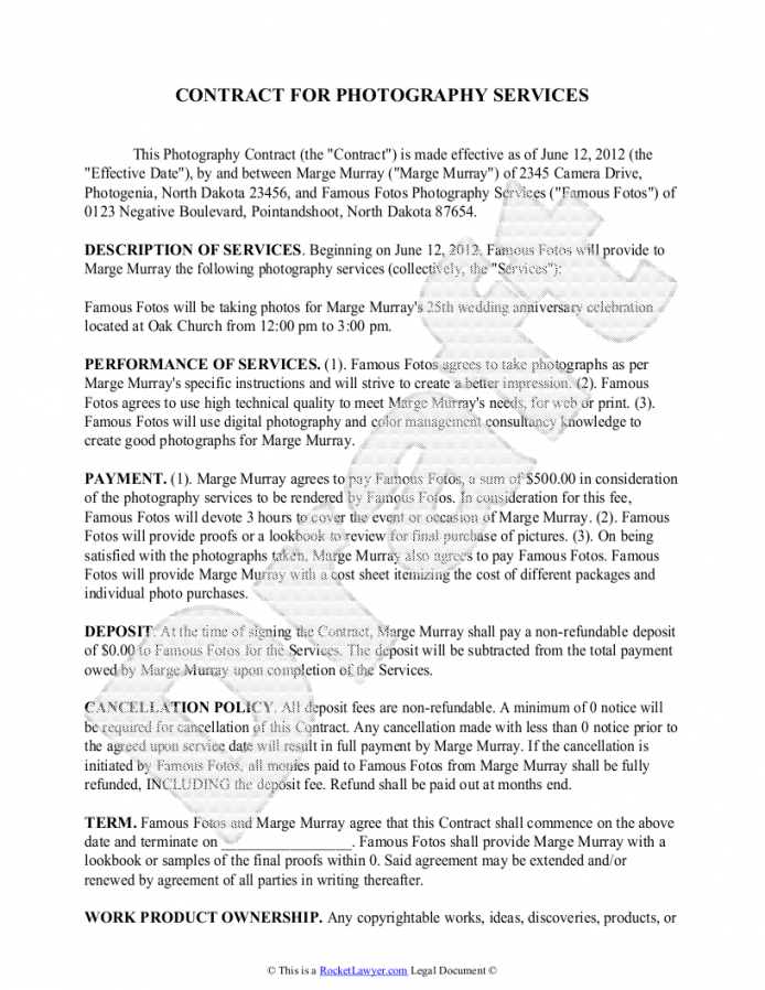 here the photography contract template  free sample for wedding, portrait product photography contract template