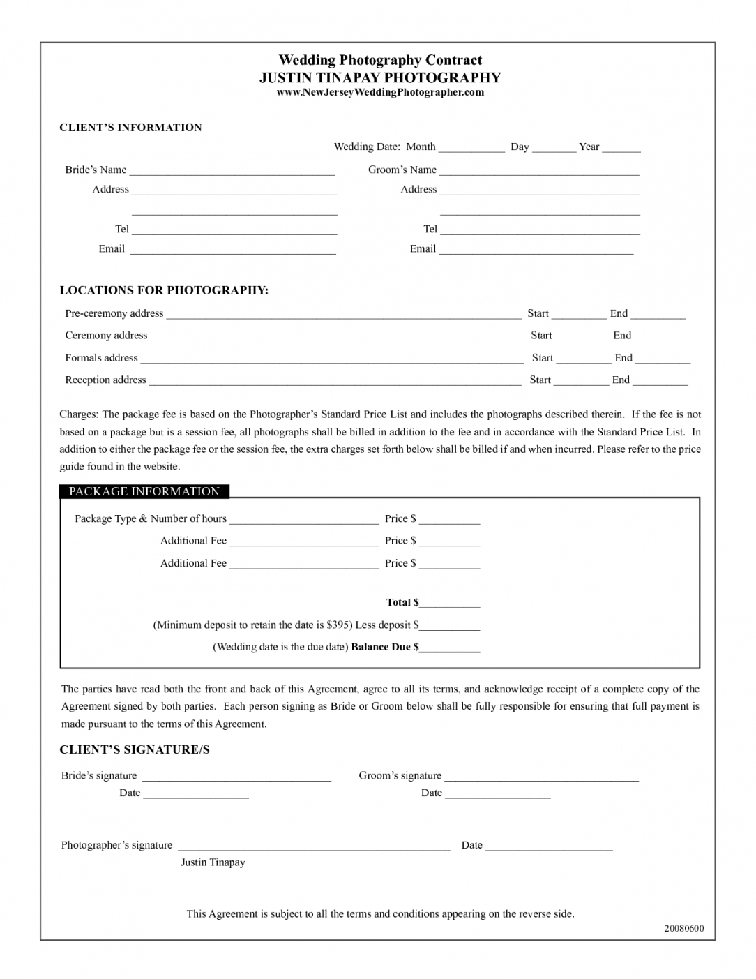 here the photography contract template  wedding photography contract justin headshot photography contract template
