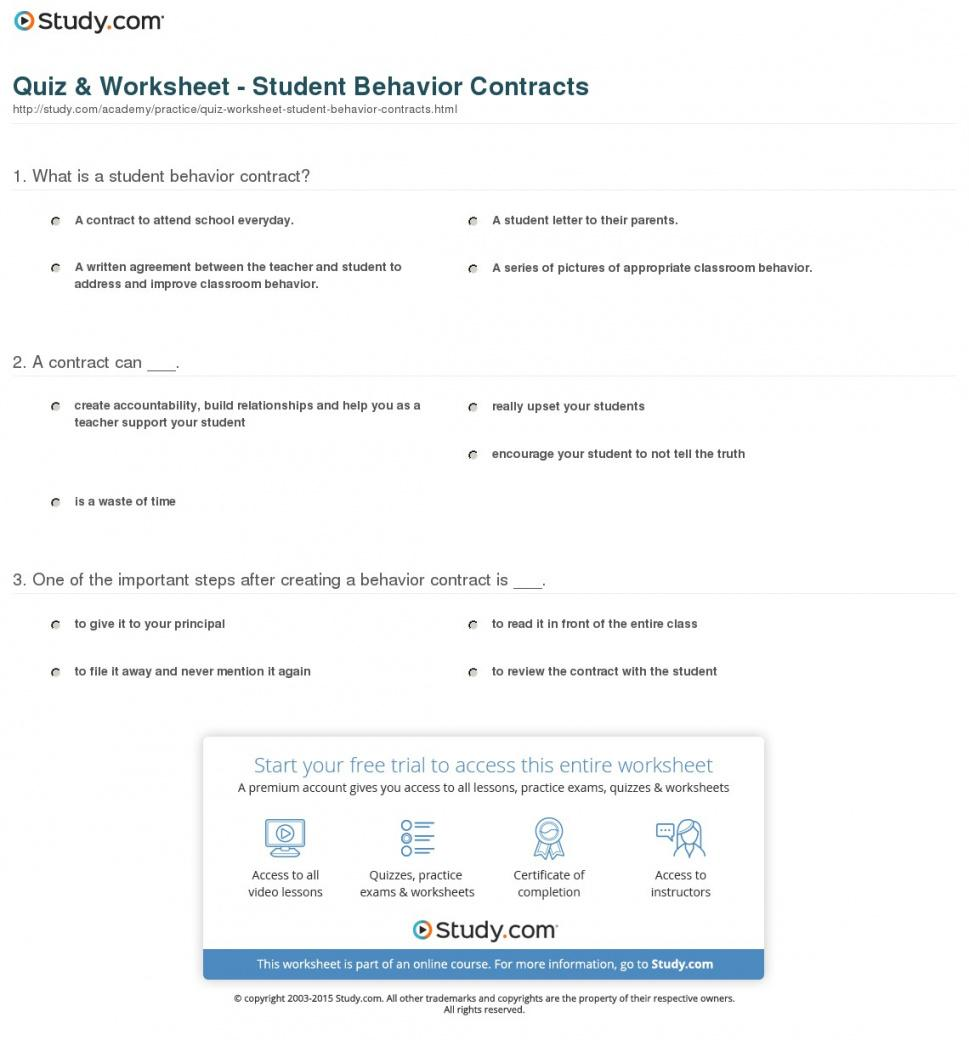 here the quiz & worksheet  student behavior contracts  study student behavior contract template