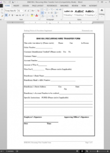 here the recurring wire transfer form template  bnk1082 wire transfer agreement sample