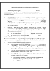 here the residential/home construction agreement by readybuiltforms civil work contract agreement sample