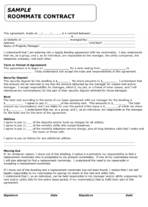 here the roommate agreement template  roommate agreement/contract  create property manager contract agreement