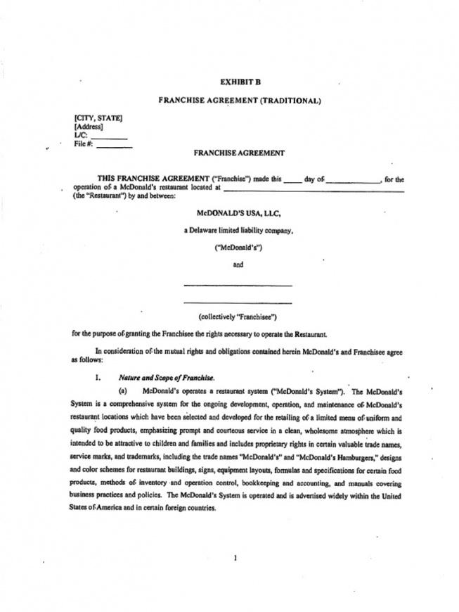 Here The Sample Franchise Agreement Form Simple Franchise