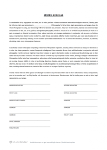 here the the best free model release form template for photography video photography contract template