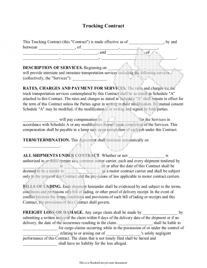 Here The Trucking Contract Template Independent Contractor