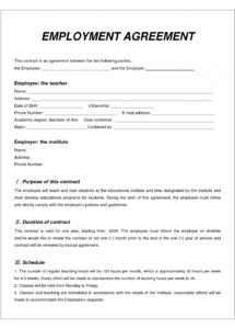 labor contract template  invitation templates  employment civil work contract agreement sample