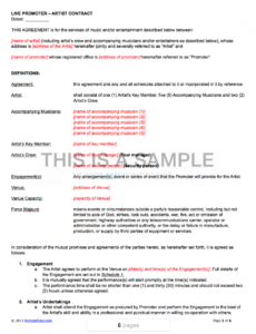 live promoter  artist contract template band rider contract template