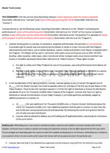 master track license (for tv & film) contract template film distribution contract template