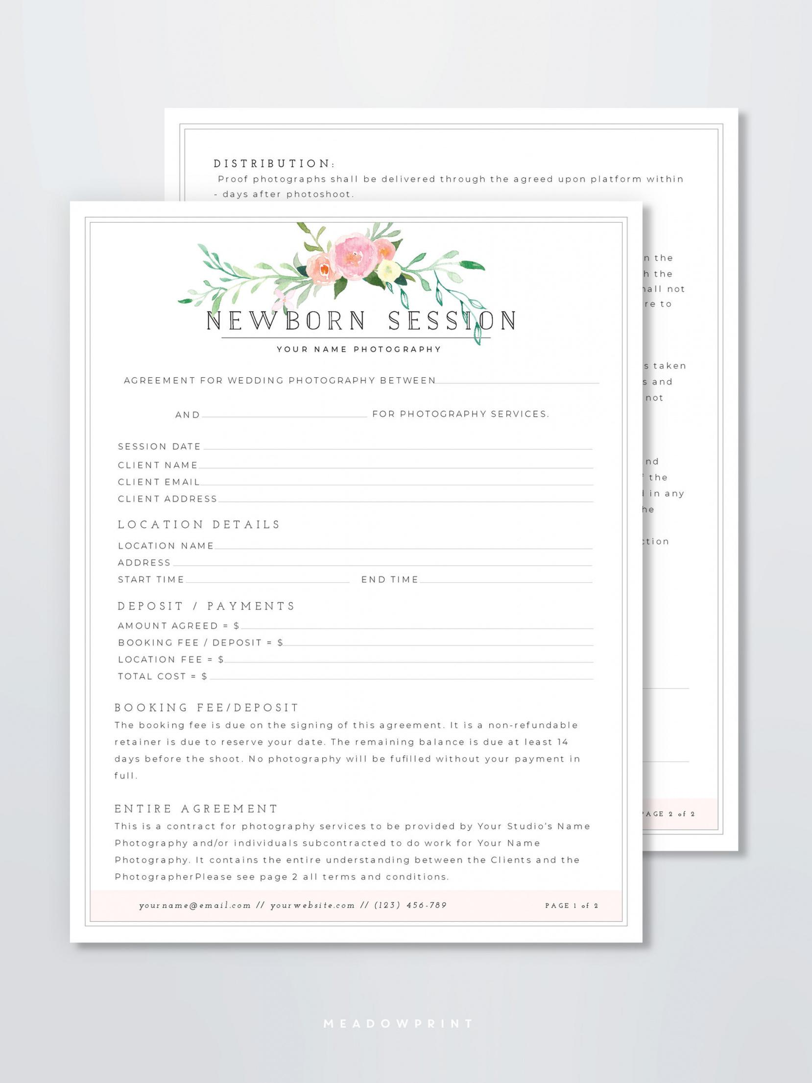 newborn photography contract template photographer branding  etsy newborn photography contract template