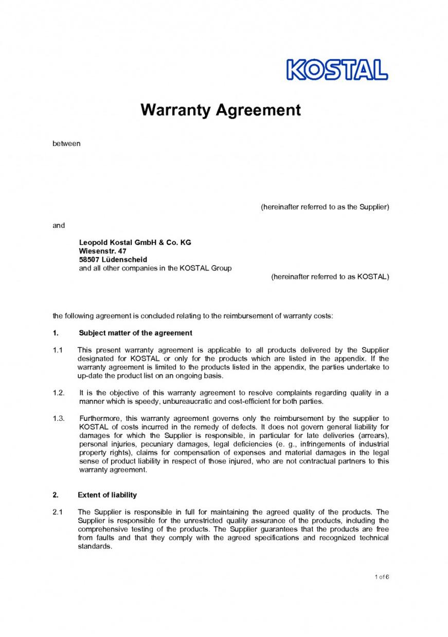 our 002 agreement template between two parties legal contract sample supplier warranty agreement sample