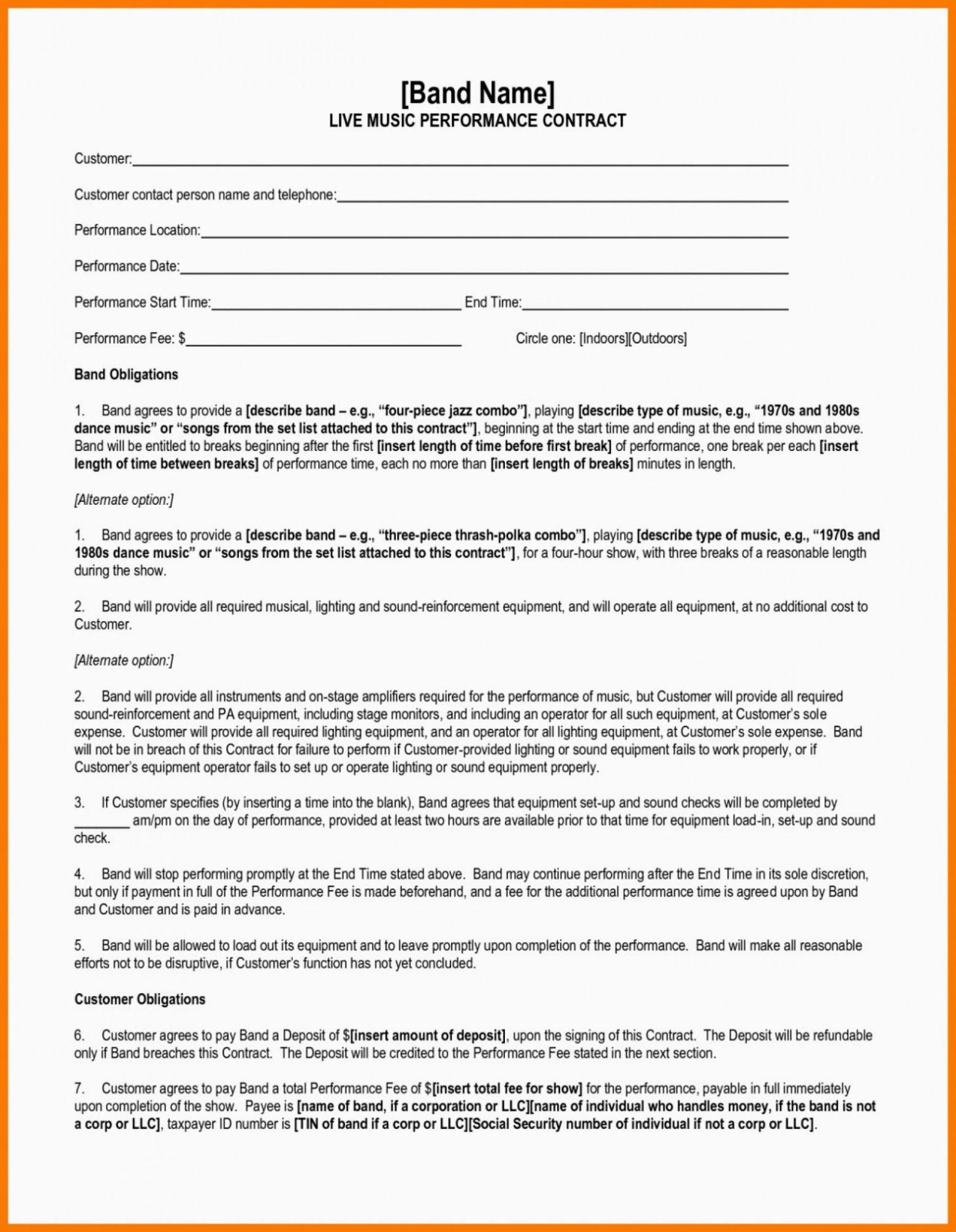 our 004 artist performance contract template booking band agreement band rider contract template