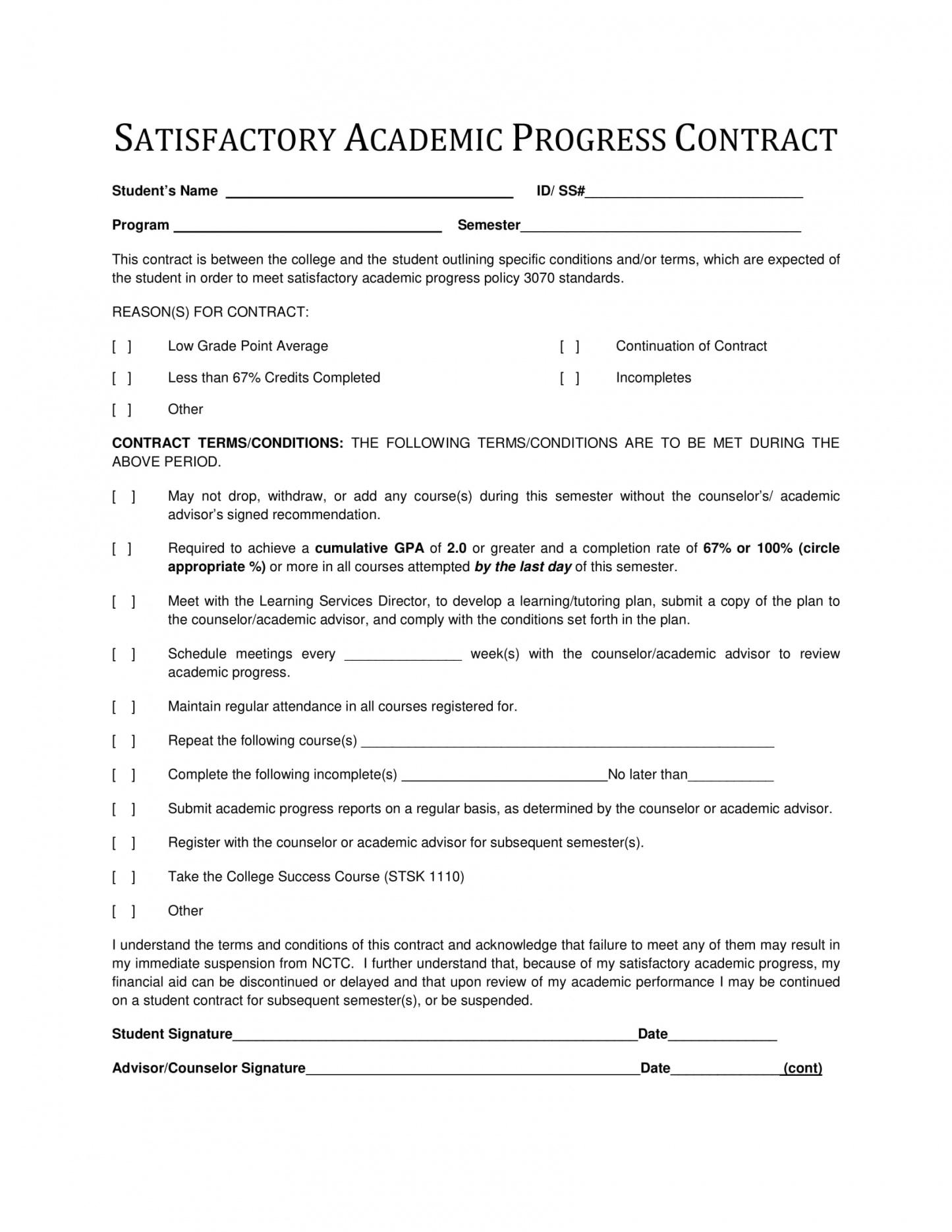 our 11+ student academic contract template examples  pdf, word, google student academic contract template