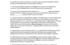 our 50+ free independent contractor agreement forms & templates personal driver contract sample