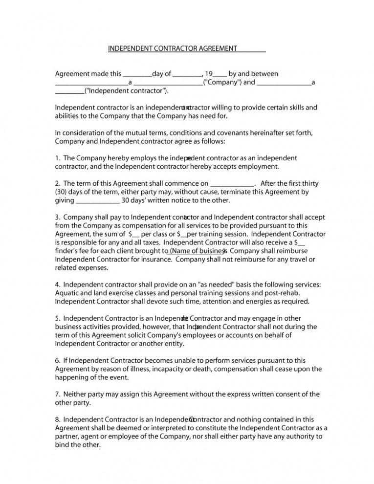 Our 50 Free Independent Contractor Agreement Forms Templates