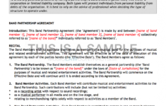 our band agreement template band contract agreement