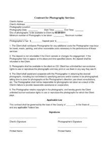 our basic wedding photography contracts  photography contract template corporate photography contract template
