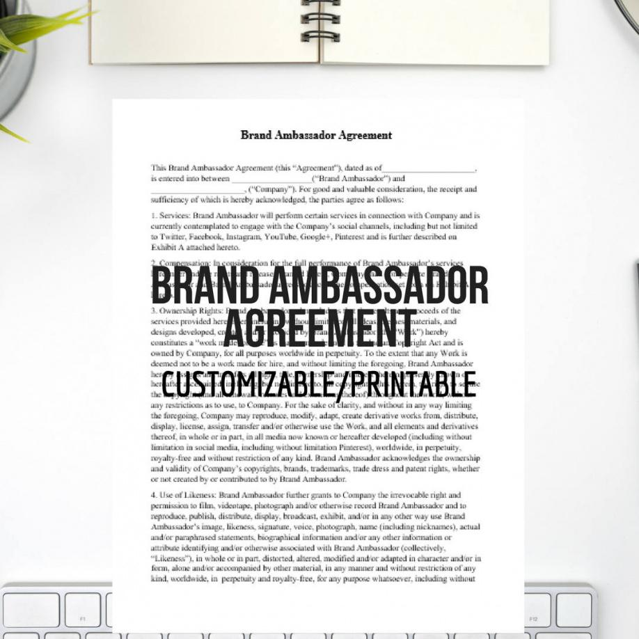 our brand ambassador agreement easy to customize instant  etsy brand ambassador agreement template