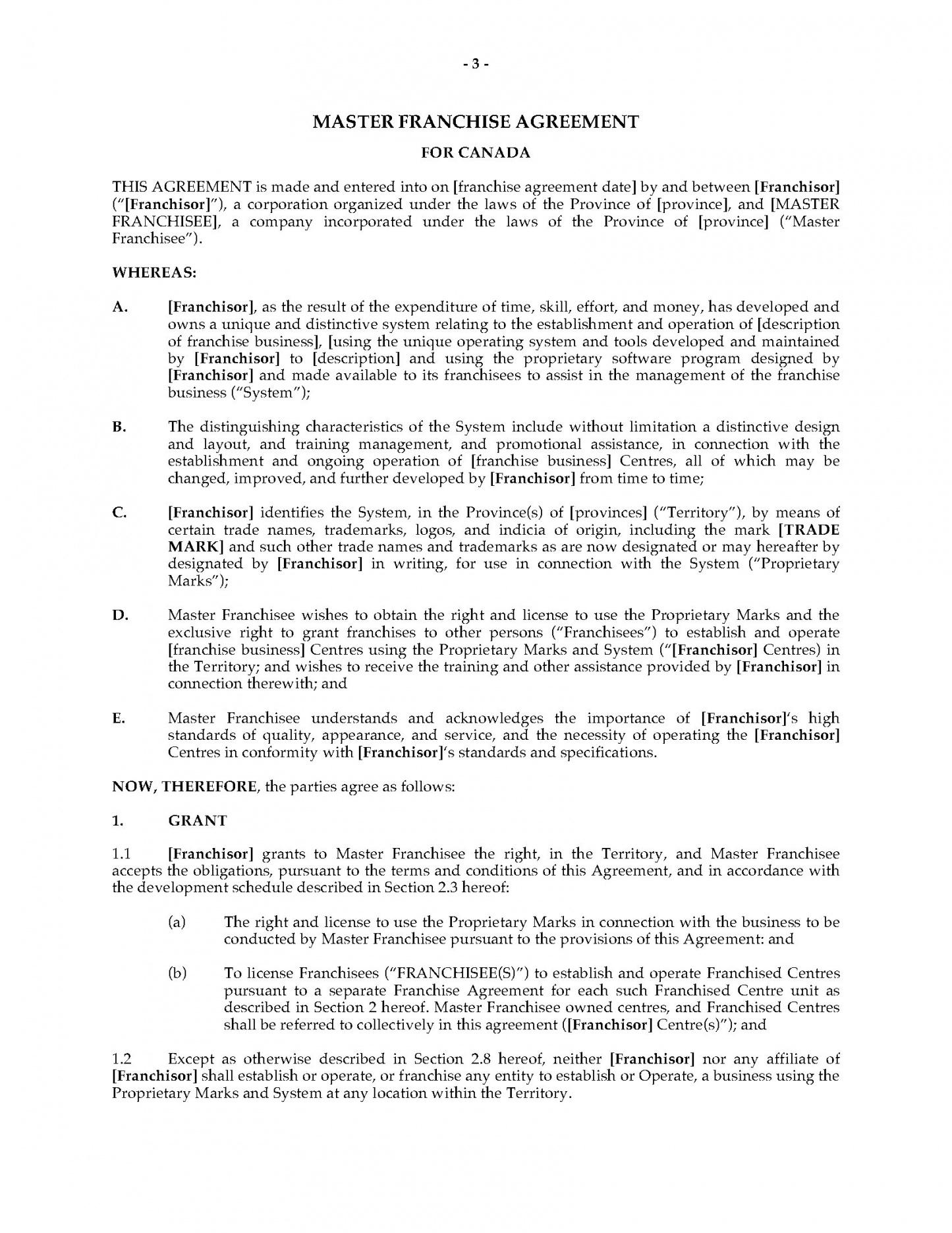our canada master franchise agreement  legal forms and business franchise development agreement sample