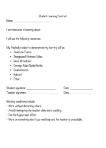 our cd: student learning contract example  to modify student learning contract template