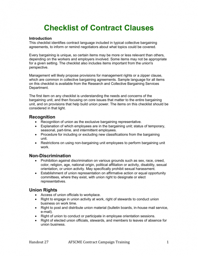 our checklist of contract clauses collective bargaining agreement sample contract