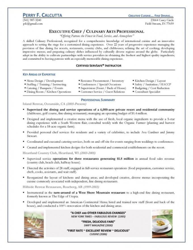 our chef resume samples  alid head chef contract template