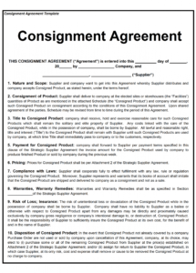 our consignment contract template franchise terms and conditions agreement sample