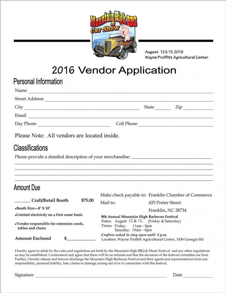 our craft vendor contract template example #1859  ocweb vendor booth contract template