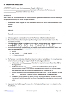 our djpromoter contract template for hiring a dj venue hire contract template